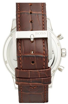 BOSS Men's Stainless Steel & Leather Chronograph Watch, 44Mm