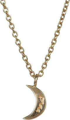 Minor Obsessions Pave Diamond & Gold Moon Pendant Necklace-Colorless