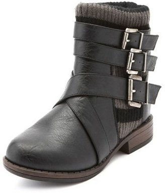 Charlotte Russe Triple Buckle Sweater Ankle Boot