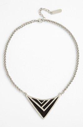 Vince Camuto Enamel Chevron Pendant Necklace Neon Salmon/ Gold