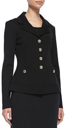 St. John Collection Button-Front Jacket, Caviar $1,195 thestylecure.com