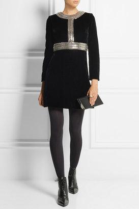 Saint Laurent Chain-embellished velvet mini dress