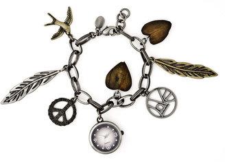 Decree Womens Feather Charm Bracelet Watch