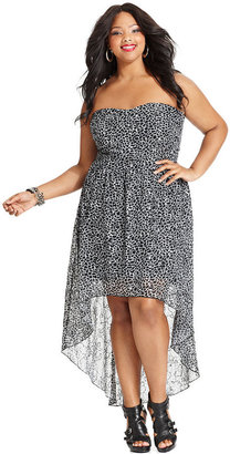 Ruby Rox Plus Size Dress, Strapless Printed High-Low
