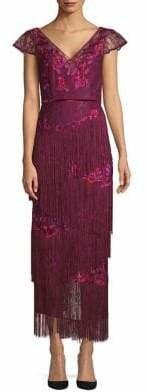 Marchesa Embellished Velvet-Trimmed Gown