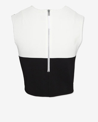 Torn By Ronny Kobo Pique Colorblock Crop Top