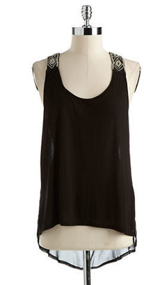 GUESS Embellished Hi-Lo Tank Top