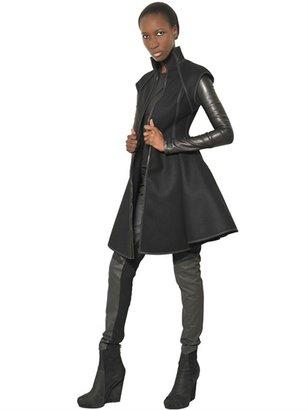 Gareth Pugh Nappa Leather And Wool Felt Coat