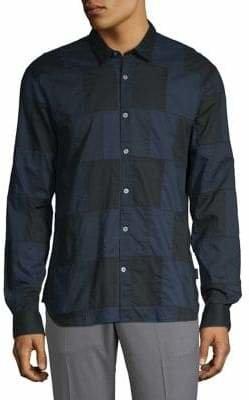 John Varvatos Patchwork Button-Down Shirt
