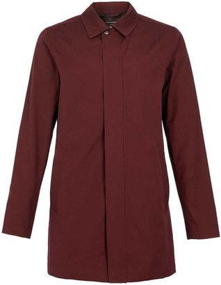 Topman Burgundy Single Breasted Zip Trench Coat