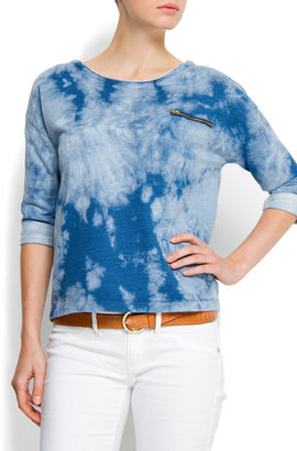 MANGO Cotton tye dye sweatshirt