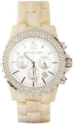 Michael Kors Cream Oversized Chronograph Bracelet Watch