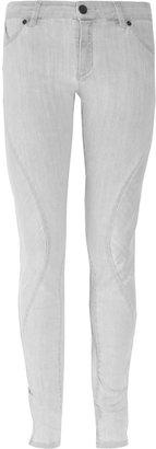 Superfine Swirl curved-seam mid-rise skinny jeans