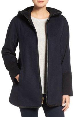 Ellen Tracy Faux Leather Trim Duffle Coat (Regular & Petite) $258 thestylecure.com