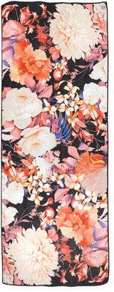 Roberto Cavalli Floral Printed Silk Satin Scarf, Black/Multi