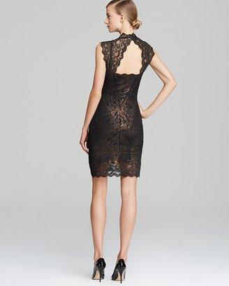 Nicole Miller Foil Lace Square Neck Dress - Eva