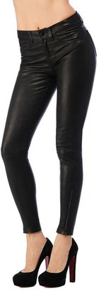 J Brand Mid-Rise Stretch Leather Pants In Black