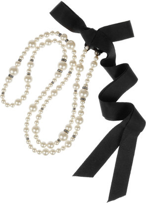 Lanvin Swarovski crystal and faux pearl necklace