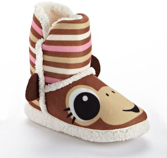 Pink Cookie monkey bootie slippers - girls