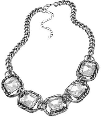 Blu Bijoux Silver and Crystal Five Station Necklace