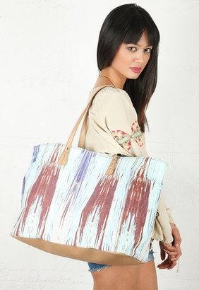 Twelfth St. By Cynthia Vincent Cove Beach Tote in Digital Ikat Print - by