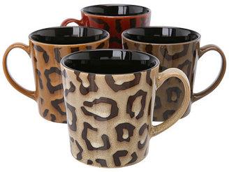 Bia Cordon Blue Cordon Bleu Assorted Colors Leopard Pattern Mug, 17oz, Set of 4