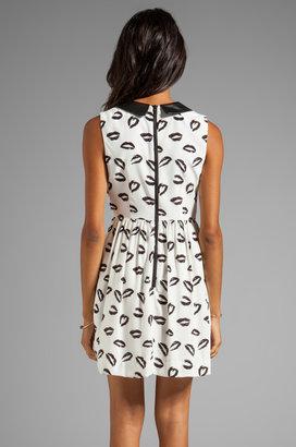 Milly Kiss Print Leather Collar Gathered Skirt Dress