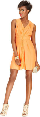 Bar III Dress, Sleeveless V-Neck Pleated A-Line