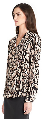 Lorelei Leopard Print Silk Blouse In Leopard Bark