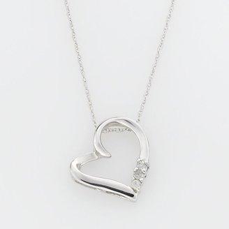 10k White Gold Diamond Accent Heart Pendant