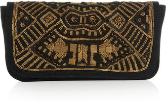 Antik Batik Darie embellished suede clutch