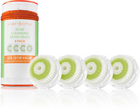 clarisonic Acne Cleansing Brush heads, Limited Edition 4-Pack
