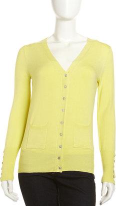 Isaac Mizrahi Button-Front V-Neck Cardigan, Citron