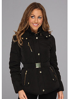 Cole Haan Taffeta Down Belted Coat w/ Removable Hood
