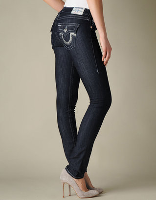 True Religion Womens Hand Picked Diamond Frost Crystal Jeans - (Infantry)
