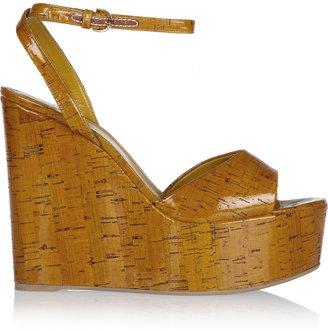 Sergio Rossi Patent-leather wedge sandals