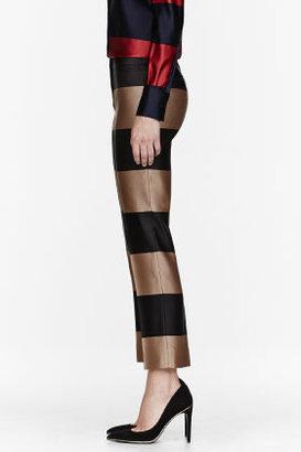 Burberry Tan & black Double Silk Satin Striped Trousers