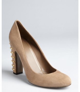 Gucci taupe suede goldtone studded heel pumps