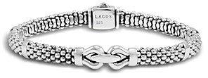 Lagos Derby Small Buckle Sterling Silver Caviar Bracelet