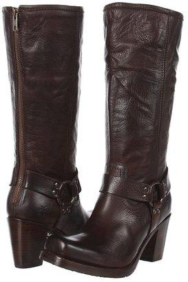 Frye Heath Heel Harness (Dark Brown Soft Vintage Leather) - Footwear