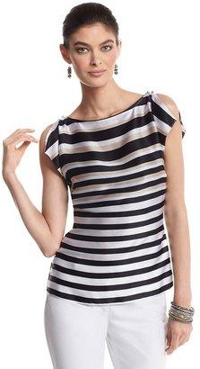 White House Black Market Silk Stripe Flutter Sleeve Blouse