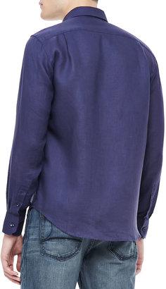 Vilebrequin Linen Long-Sleeve Shirt, Navy