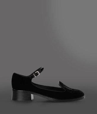 Giorgio Armani Velvet Shoe With Ankle Strap