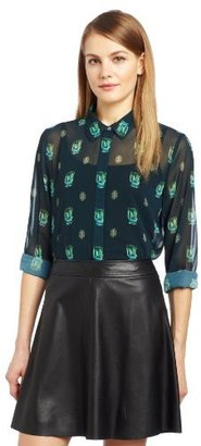 Vince Camuto Women's Emerald Jewels Button Front Long Sleeve Blouse