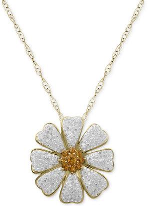Kaleidoscope Sterling Silver Necklace, Swarovski Crystal Accent Daisy Flower Pendant