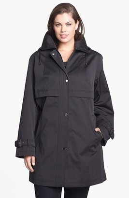 Gallery A-Line Walking Coat with Detachable Hood (Plus Size)