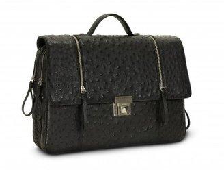 Bodhi pristine (PR Black Ostrich Double Zip Laptop Briefcase