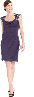 Xscape Evenings Cap-Sleeve Lace Dress
