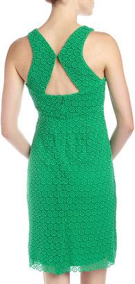 Isaac Mizrahi Circle-Lace Keyhole-Back Dress, Green