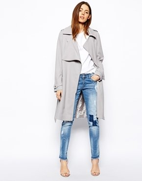 Asos Trench with Zip Detail - Light gray